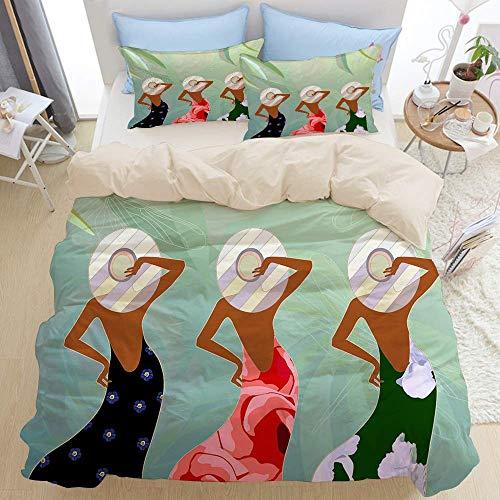 88888 Bettbezug mit schönem Hut-Modell, weibliches Einkaufen, florales Bild, Pfirsichmädchen-Hintergrund, Mikrofaser-Bettbezug (135 x 200 cm), Kissenbezug 50 x 80 cm.