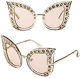 RosieLily Mujeres Vintage Retro Gato Gafas De Sol Gafas De Sol Rhinestone Gafas para Gafas Al Aire Libre, Gafas De Sol para Mujeres(Color:2)