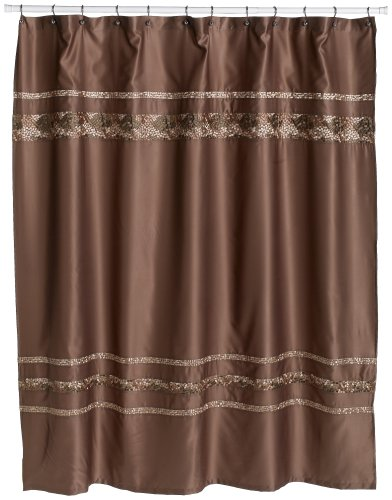 "Croscill Mosaic Embroidered Shower Curtain, Satin Finish Polyester Shower Curtain, 70"" x 75"", Mocha Brown"