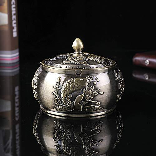 Cenicero de metal auspicioso con barra de elefantes, cenicero resistente al viento, decoración para el hogar, sala de estar, adornos, regalos, suministros de barra para fumar (color: B Gold Fish)