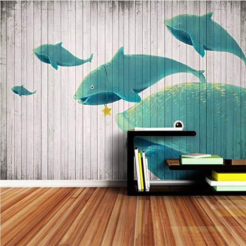 Wuyii op maat gesneden retro behang houten plank dolfijn muurschilderijen papier afbeelding behang voor 3D kinderen woonkamer slaapkamer kunst 120 x 100 cm.