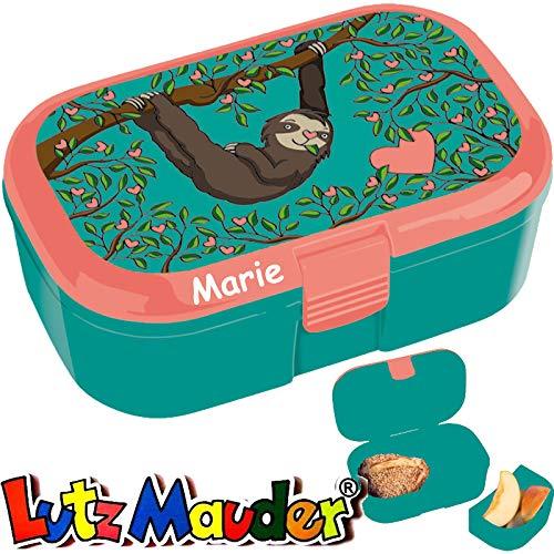Lunchbox * FAULTIER Plus Wunschname * für Kinder von Lutz Mauder   Brotdose mit Namensdruck   Perfekt für Zoo-Fans   Vesperdose Brotzeitbox Brotzeit Schule Kindergarten (mit Namen)
