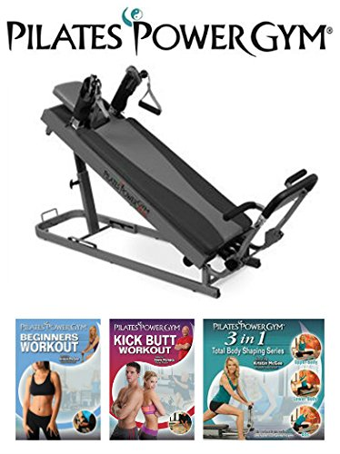 Pilates Power Gym Plus - Ultimate Mini Reformer with Push Up Bar and 3 Celebrity Trainer Pilates Workout DVDs Push Up Bar Included