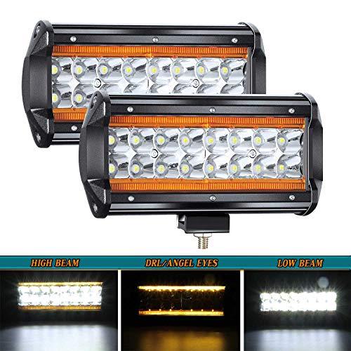 YUGUANG LED Light Bar 3000K Yellow +6000K White Dual Color 7Inch LED Pod Lights with DRL/Angel Eye 240W 24000LM Off Road Driving Fog Light Spot Flood Combo Quad Row for Truck ATV UTV SUV Boat. 2PCS
