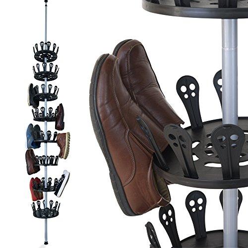 Deuba XXL Schuhregal Metall ausziehbar Platz für 96 Schuhe höhenverstellbar 80-280cm drehbar Schuhkarussell Schuhständer Schuhschrank Teleskopregal
