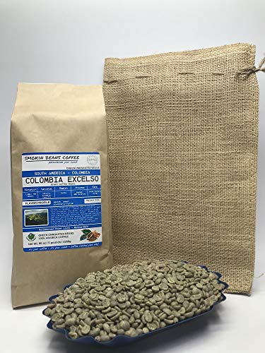 5 Pounds – South American - Colombia Excelso – Unroasted Arabica Green Coffee Beans – Grown in Huila Region – Altitude 1400-1750M - Drying/Milling Process Is Washed, 80% Sun Dried– Includes Burlap Bag