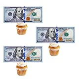 30Pcs Edible New 100 Dollar Bill Image Cake Decorations, Regular Size Precut Fake Money Cake Toppers Made of Wafer Paper