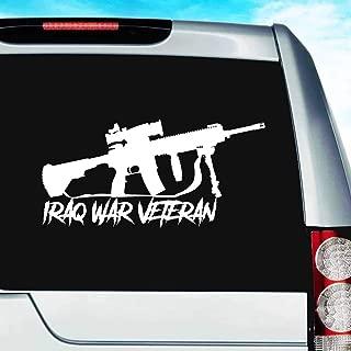 Iraq War Veteran Military Machine Gun Vinyl Decal Sticker Bumper Cling for Car Truck Window Laptop MacBook Wall Cooler Tumbler | Die-Cut/No Background | Multi Sizes/Colors, 8-Inch, White