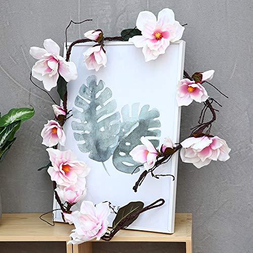 GANHUA Simulatie wijnstok stok magnolia bloem winkel bruiloft landschapsarchitectuur bloem wijnstok muur boom wijnstok plastic ton pijp raamdecoratie Vine Magnolia (without photo frame)