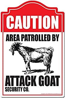 Area Patrolled by Attack Goat Novelty Sign | Indoor/Outdoor | Funny Home Decor for Garages, Living Rooms, Bedroom, Offices | SignMission Personalized Gift