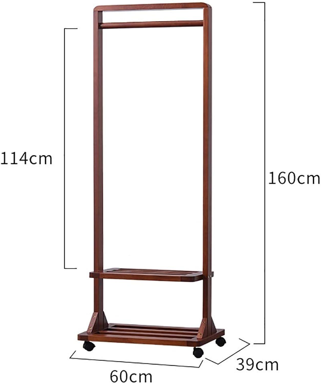 Coat Rack, Solid Wood Floor Coat Rack, 2-Layer Rack Design, Suitable for A Variety of Scenarios, Height 160cm (Size   60  39  160cm)