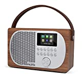 LEMEGA M2P kompaktes Internetradio mit Bluetooth,DAB+/UKW Digitalradio,Bluetooth,WLAN,Kopfhörerausgang,Wecker,wechselbarer Akku tragbar oder netzbetrieben,Farbdisplay, App-Steuerung - Nussbaum