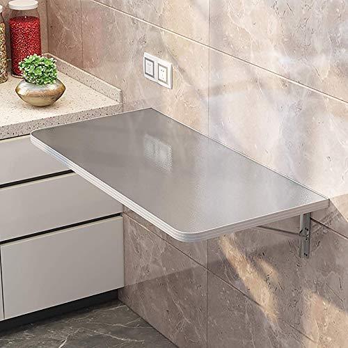 Mesa plegable montada en la pared, mesa de comedor plegable de acero inoxidable resistente, escritorio de computadora flotante que ahorra espacio para estudiar, oficina, cocina, comedor, 80x