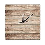 happygoluck1y Reloj de pared de madera con textura de tablones de madera, rústico, decorativo para sala de estar, dormitorio, silencioso, reloj de pared