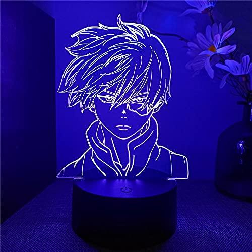 My Hero Academia - Lámpara de ilusión 3D con 16 colores de control táctil USB para decoración del hogar, regalo de cumpleaños de Navidad