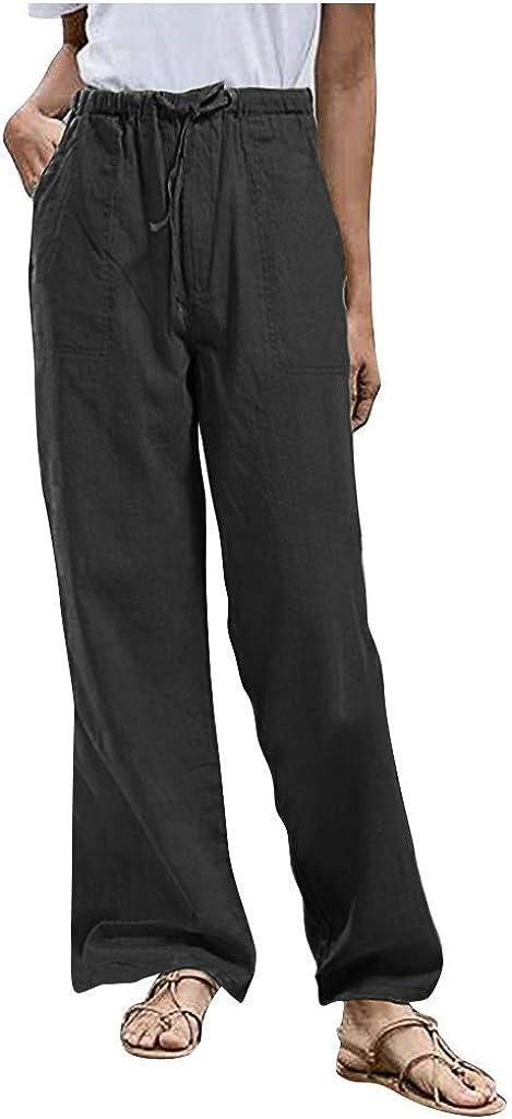 Women's Linen Cotton Pants Summer Lightweight Breathable Dress Pants High Waist Drawstring Loose Fit Casual Trousers