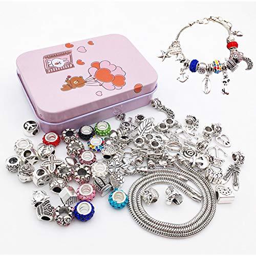 Queta Pulsera de Plata Pulsera para niña Kit de fabricación de Joyas para niña con Cuentas Juego de Regalo para niña 8-12 años (Colorido)