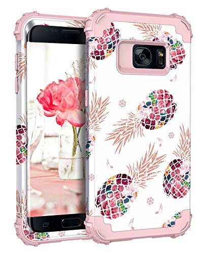 Pandawell Compatible Galaxy S7 Case Floral 3 in 1 Heavy Duty Hybrid Sturdy Armor High Impact Shockproof Protective Cover Case for Samsung Galaxy S7, Pineapple/Rose Gold