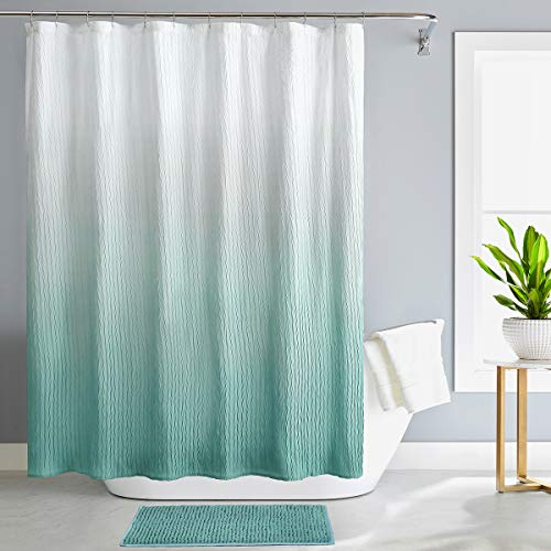 REEPLE Ombre Shower Curtain Set with Rugs and Hooks for Bathroom Waterproof Gradient Fabric Bath Shower Curtain 72 x 72 Inch Green