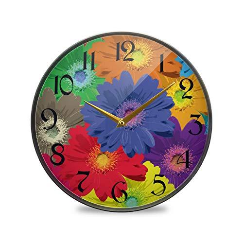 ART VVIES Reloj de Pared Redondo de 9,5 Pulgadas Que no Hace tictac silencioso Funciona con Pilas Oficina Cocina Dormitorio decoración del hogar-Flor