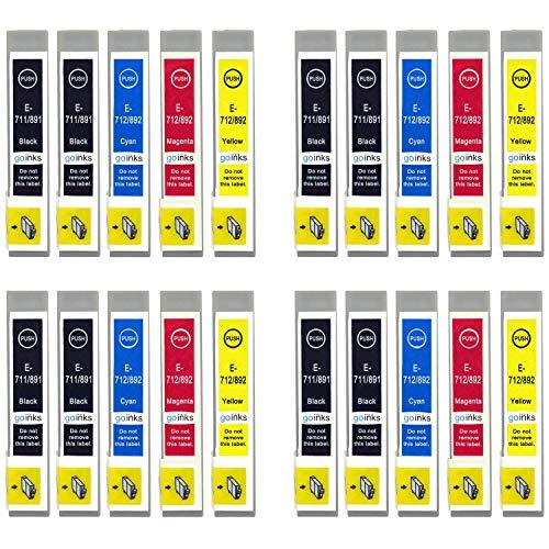 Go Inks E-715/711 - Juego de 4 Cartuchos de Tinta compatibles con impresoras Epson Stylus (Lote de 20)