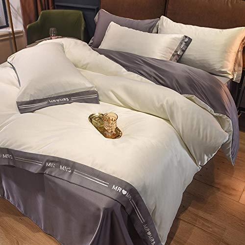 Individual Funda de edredón y Funda,Conjunto de cuatro piezas de lupa de lujo de lujo feng shui seda, plata satinada king size tapa edredón y hoja de hoja ajustada-C_1,8 m de cama (4 piezas)