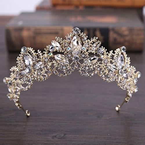 Jovono Hochzeits-Tiara, ideal als Brautschmuck, Kristall, goldfarben