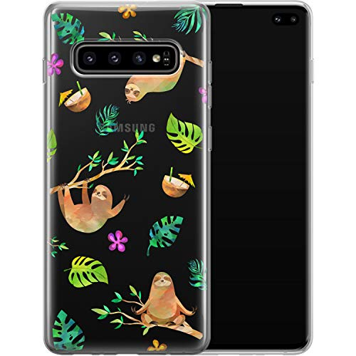 Vonna Phone Case for Samsung Galaxy S20 Plus S10 Note 20 Ultra 5G S9 S8 S7 Cover Leaves Smooth Cute Sloths Design Pattern Lightweight Tropical Gentle Flexible Slim fit Soft Print Bloom Animal a422