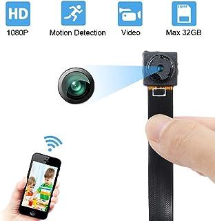 Lxmimi - Mini cámara de vigilancia (1080p portátil HD visión Nocturna y detección de Movimiento para Uso en casa en la Oficina en Interiores y en Exteriores)