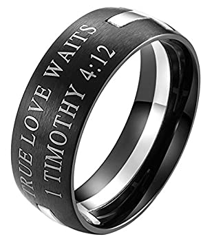 EZSONA Men s 8mm Stainless Steel Bible Verse Christian Purity Puzzle Ring 1 Timothy 4 12 Silver Size 11