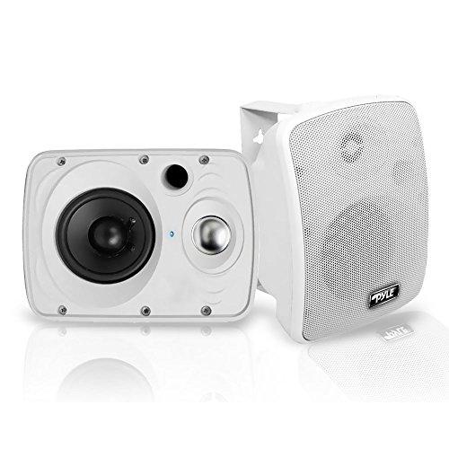 Outdoor Waterproof Wireless Bluetooth Speaker - 6.5 Inch Pair 2-Way Weatherproof Wall/Ceiling Mounted Dual Speakers w/Heavy Duty Grill, Universal Mount, Patio, Indoor Use - Pyle PDWR64BTW (White)