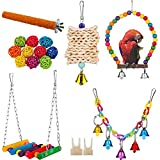 X-zoo Bird Toy Parrot Toys, 7 Pack Birdcage Swings Hanging Chewing Shredding Perches for Cockatiel, Budgies, Parrots, Small Parakeets, Canary