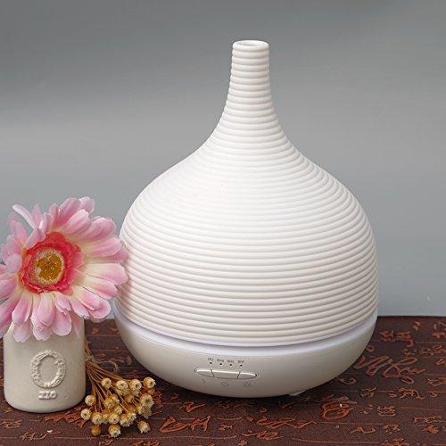 Aiho - Deumidificatore 500ml ad ultrasuoni, diffusore di oli essenziali per aromaterapia, LED 7 colori, 4 regolazioni orarie, per yoga, spa, casa, ufficio, camera da letto, bagno bianco