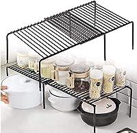 キッチン食器棚棚ワイヤーラック自立型キッチン棚収納棚拡張可能な棚整頓されたオーガナイザースタンドキッチンキャビネット、カウンタートップ、パントリー用