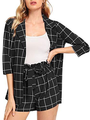 SheIn Women's 2 Pieces Plaid Thin 3/4 Sleeve Blazers and Self Tie Waist Shorts Set Black