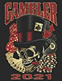 'Rockabilly Gambler Skull' Organizer for 2021: Personal Organizer, Terminplaner, organiseur personnel, organizador personal, agenda for 2021. English, deutsch, français, italiano, español