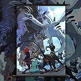 JIANGGE Cartel de la Pared del pergamino Colgar Pintura, Anime Pokemon Oro Plata, decoración del hogar Arte Mural...