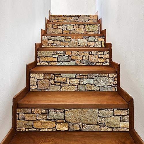 TZUTOGETHER pegatinas para escalones, Escalera de moqueta autoadhesiva, Calcomanías para escaleras 3D Cocina Piso Decoración,Impermeable Etiqueta de la pared extraíble (6pcs 100 * 18cm) (A)