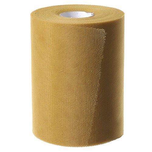 Paor 100 Yardas 15cm de ancho Tela de cinta de tul para la decoración de la fiesta Wraping Craft Bow Girl Tutu Color Verde oscuro/rosa / púrpura Amarillo limón/Azul marino/Blanco (Gold)