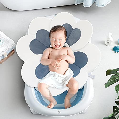 Portable Baby Bath Flower Sink Insert Comfortable Bath Lotus Cute Flower Cushion for Infant Sink Baby Tub Flower Unisex Grey New