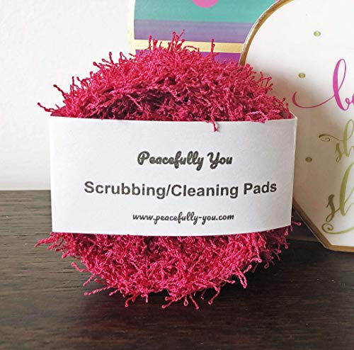 (4 Pack) Dish Scrubbies/Household Cleaning for Kitchen/Bath/Household - PINK - 100% Non Scratch - Pot & Pan Heavy-Duty Scouring & Scrubbing - Handmade (USA)