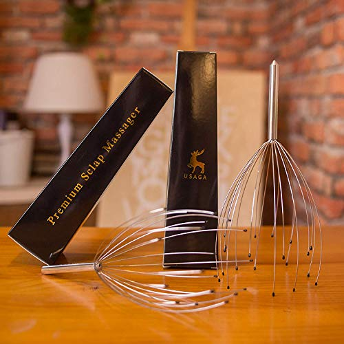 USAGA Head Massager Scalp Scratcher 20 Fingers Head Scratcher for Head Body Relaxing