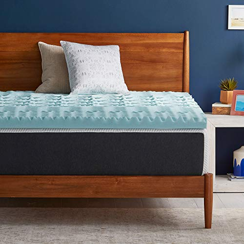 LUCID 3 Inch Gel Memory Foam Plush - Cooling Targeted Convoluted Comfort Zones mattress topper, Full