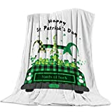 Flannel Fleece Throw Blanket Happy St. Patrick's Day Gnomes Irish Shamrock Soft Warm Plush Cozy Bed Blanket All Reason Home Decorative for Living Room/Kids Bedroom Green Plaids (40x50in)