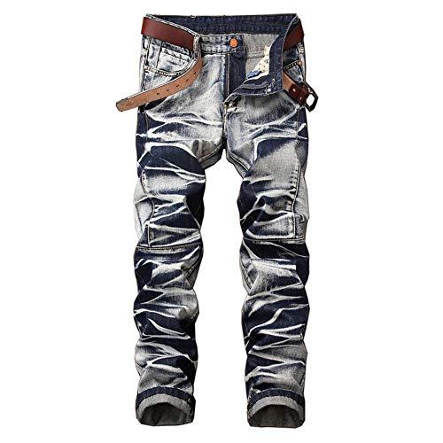 Go Mai Men's Jeans Slim Straight Stretch Pants Fashion Retro Style Trousers Light Blue