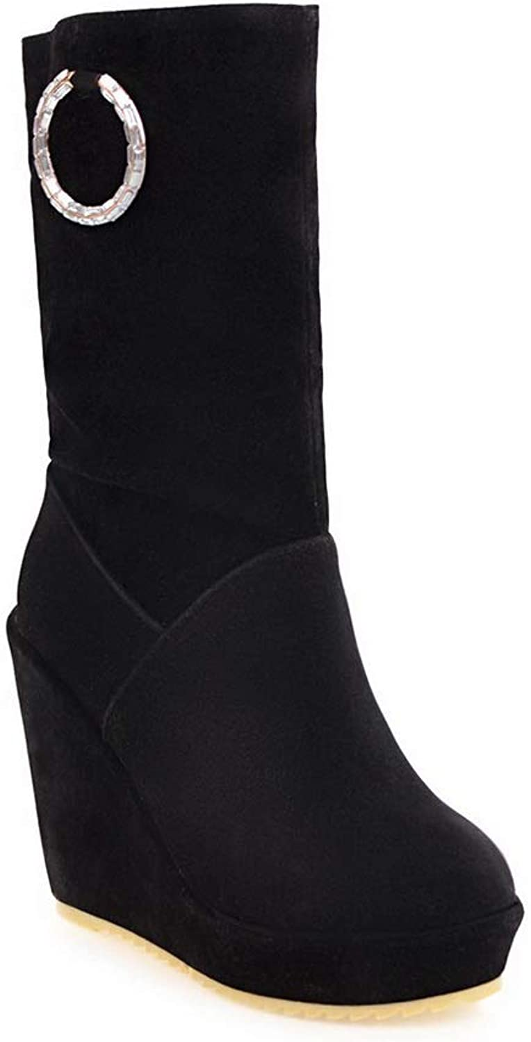 BalaMasa Womens Wedges Platform Wedges Imitated Suede Boots ABL11114