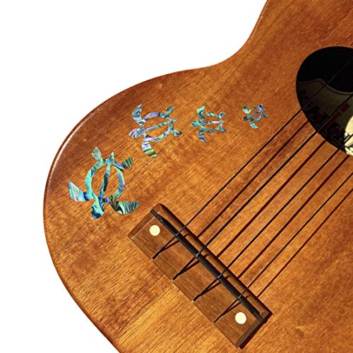 Inlay Stickers for Ukuleles - Honu Family & Tropical Monstera Leaves - Abalone Blue