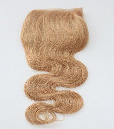 100 % cheveux humains vierges ondulés avec dentelle suisse Fermeture sur le dessus 10,2 x 10,2 cm Partie libre avec nœuds décolorés Couleur blond frai