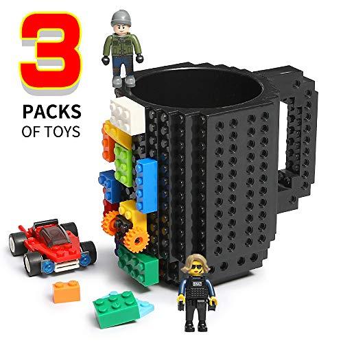 Lumsburry Build-on Bricks Tassen Becher, Kreative DIY Kaffeetasse Baustein Kaffee Tee Trinken Spaß Trinken Geschenk (Schwarz)