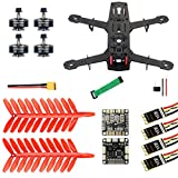 QWinOut Q250 Full Set DIY FPV Drone Camera Quadcopter 250MM Carbon Fiber Frame F3 FC Flycolor Raptor BLS Pro-30A ESC 700TVL Camera FS I6 (No Battery& Charger)